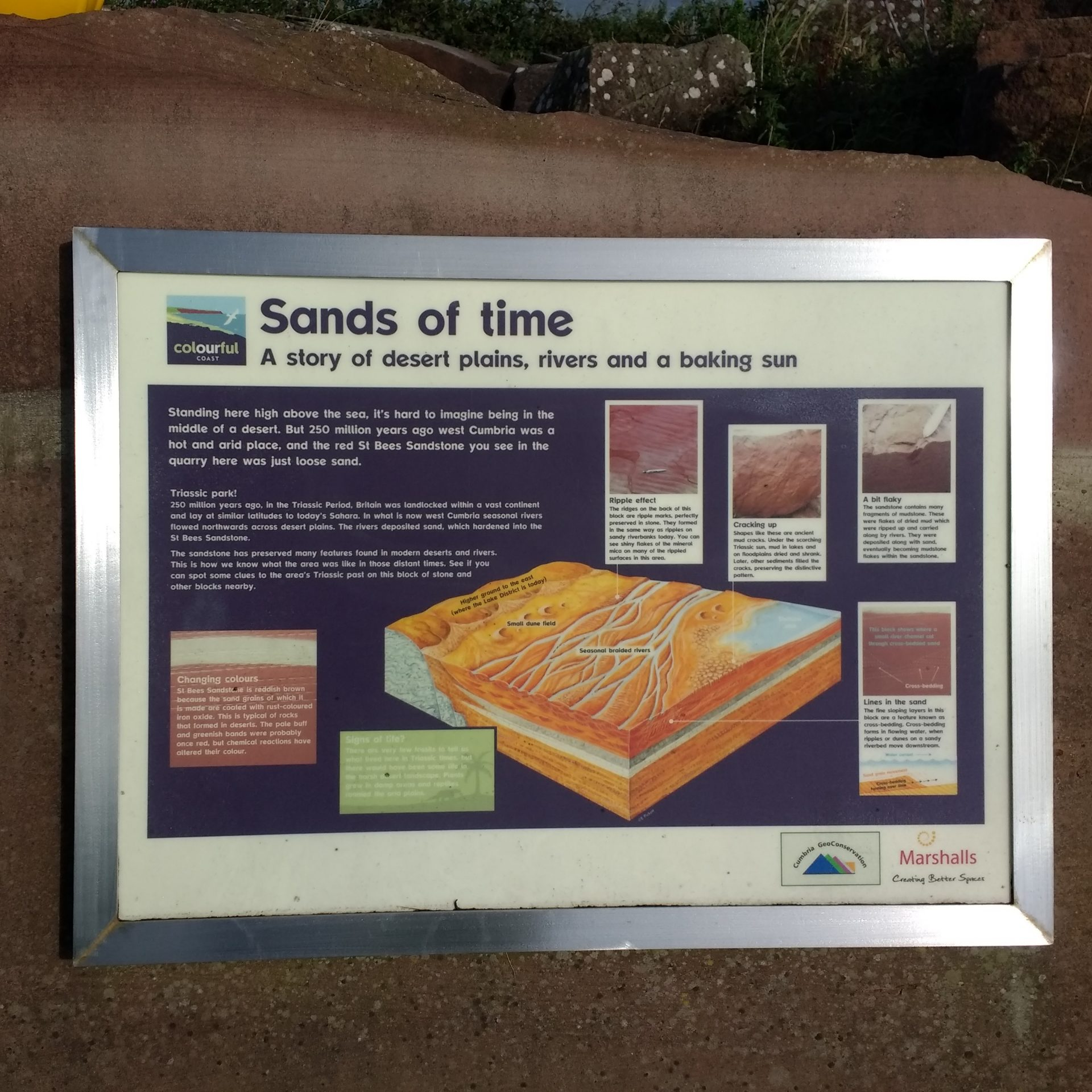 St Bees: Info board at Birkhams Quarry